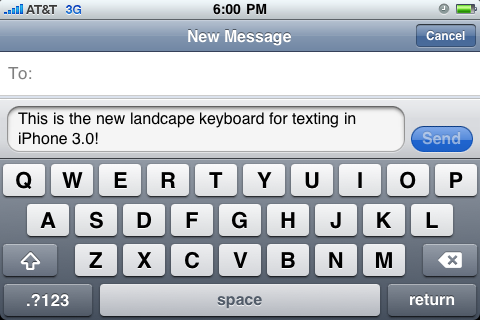 iphone 3.0 texting landscape