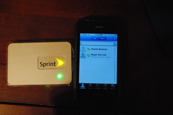 Sprint MiFi Skype on iPhone